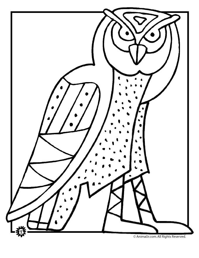 owl coloring pages owl art coloring page classroom jr - Artist Coloring Page
