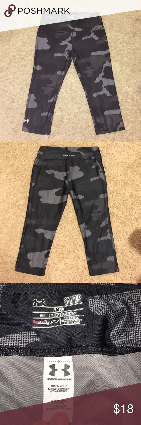 Women's Under Armour quarter length camo leggings Like new condition only worn twice:) Under Armour Pants Leggings