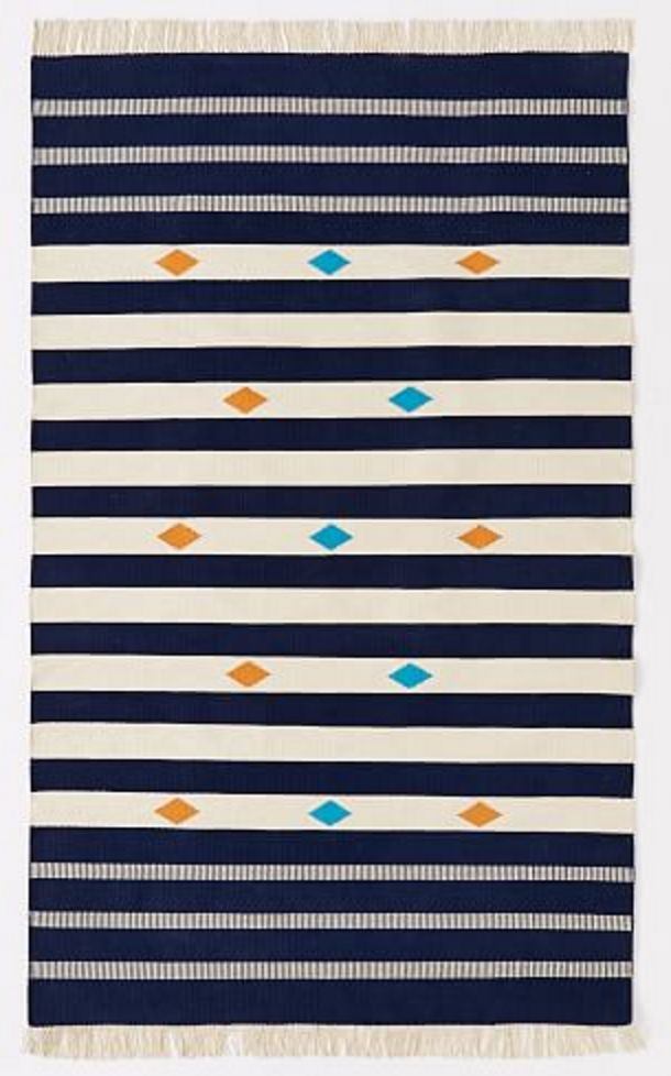 Navy and cream stripe kilim rug with orange and turquoise diamond accents