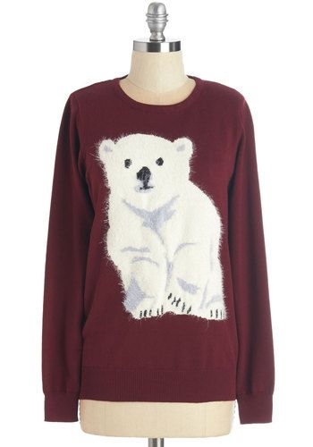 Polar Paw-pposites Sweater by Sugarhill Boutique - Holiday, Critters, Mid-length, Knit, Red, White, Print with Animals, Casual, Long Sleeve, Crew