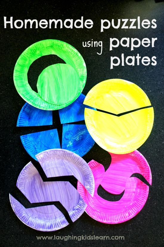 Homemade puzzles using paper plates - fun #educational activity for #children! (pinned by Super Simple Songs)