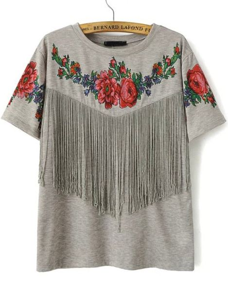 Shop Grey Short Sleeve Floral Tassel T-Shirt online. SheIn offers Grey Short Sleeve Floral Tassel T-Shirt & more to fit your fashionable needs.