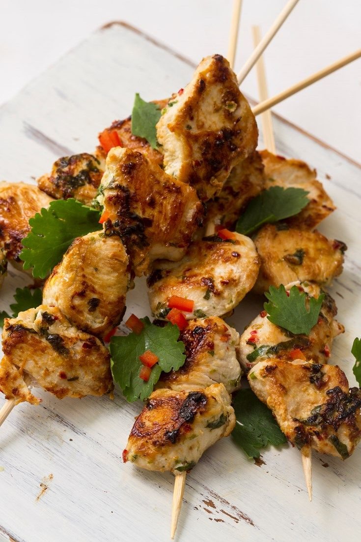 Meaning 'small chicken skewers' in Portuguese, these espetinhos de frango from Marcello Tully are a prime example of how easy it is to cook delicious Brazilian flavours at home. With zesty lime, fragrant coriander and a little fiery chilli, these chicken skewers are perfect for a summer barbecue.