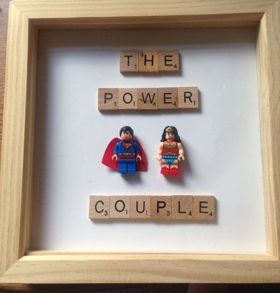 Wedding Gift - Marvel Lego superman and wonder woman Picture Frame - Personalised Gift