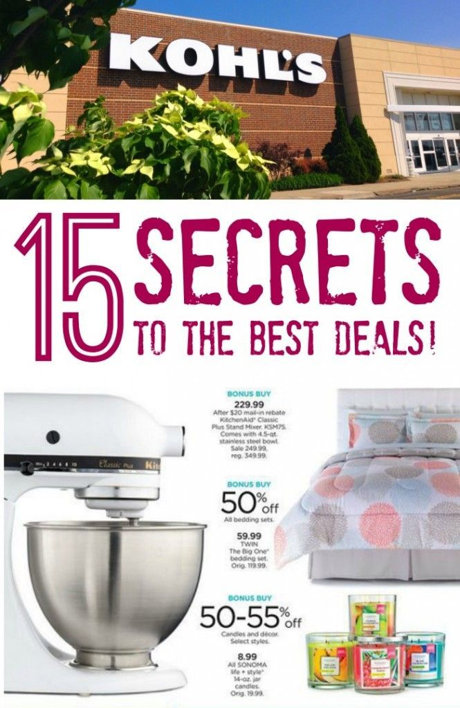 Here are the TOP 15 Secrets to Getting the BEST Deals at Kohl's! Save Money on your Kohl's Shopping trip!