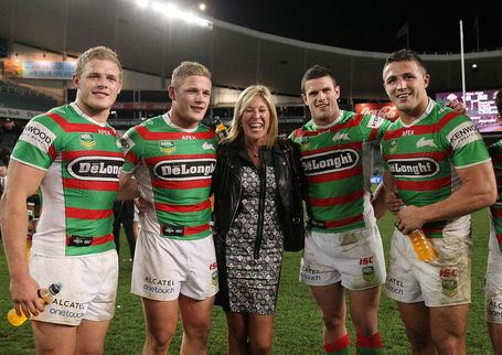 Thank you Mom Burgess.  Thank you.  Thomas Burgess, George Burgess, mom Julie Burgess, Luke Burgess and Sam Burgess pose after a game in Sydney, Australia.