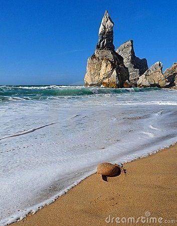 A shore view of secret beach in Portugal