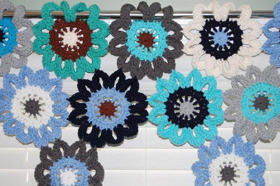 Crochet flores ventana cenefa  náutica cortinas por KnotsaPlenty