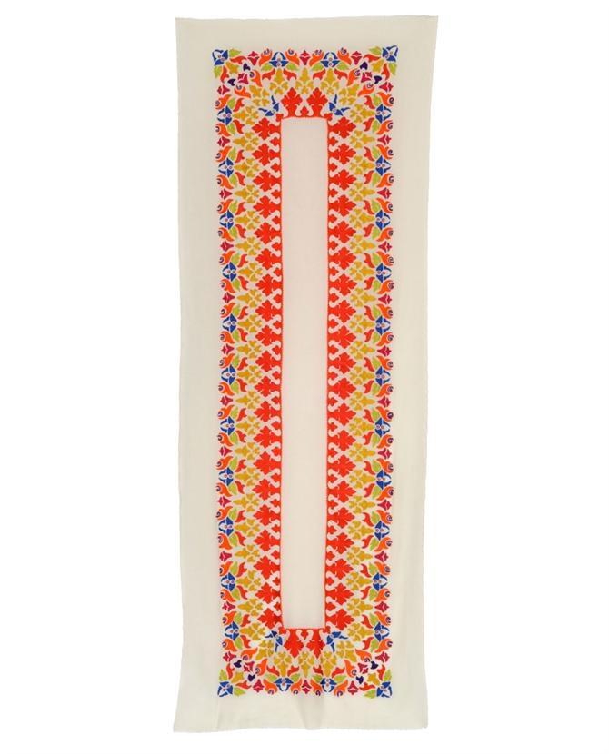 Janavi hand-embroidered cashmere scarf