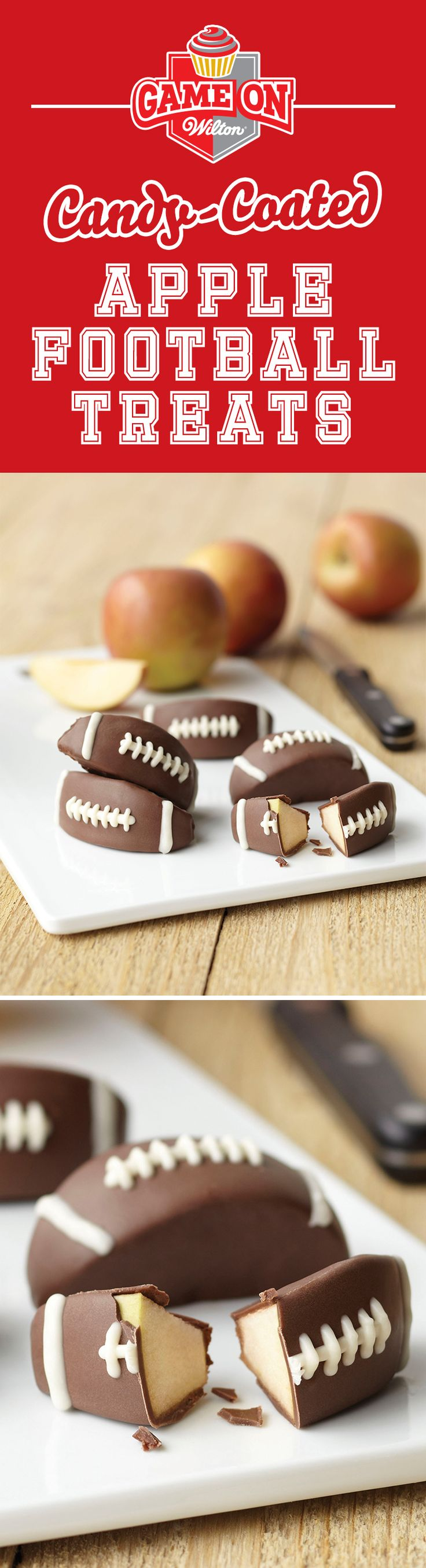 How to Make Candy-Coated Apple Football Treats - Dipped apple wedges decorated like footballs make a sweet treat for your favorite playoff celebration, tailgate party or after-game snack for the tiniest tackle on the team. Use Wilton Short Dipping Containers to easily dip apple wedges in delicious Candy Melts candy.