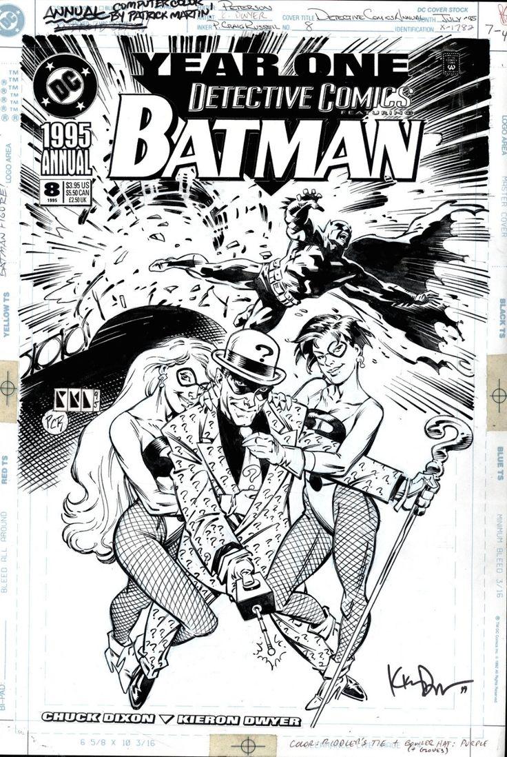 DWYER, KIERON & CRAIG RUSSELL - Detective Comics Annual #8 cover, Batman Year One - Batman, Riddler & henchwomen 1995 - W.B.
