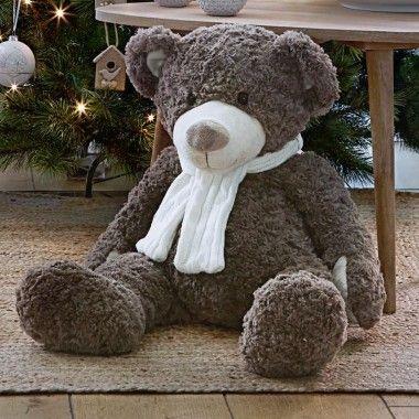 Ours en peluche gris avec écharpe                                                                                                                                                                                 Plus