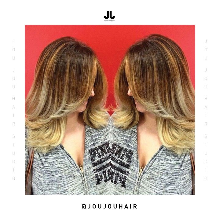 Ombre Mix of Caramel and Ash Tones w/ Layered Cut | JouJou Hair Studio