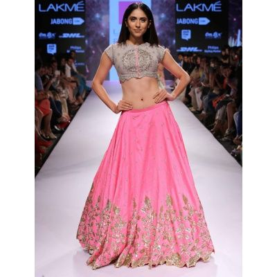 Spiffy Pink Bhagalpuri Silk Bollywood Lehenga Choli comes with Gray Color Bhagalpuri Silk Blouse, Net Dupatta & Satin Inner. It contained the Embroidered with Thread work. Lehenga length is 44