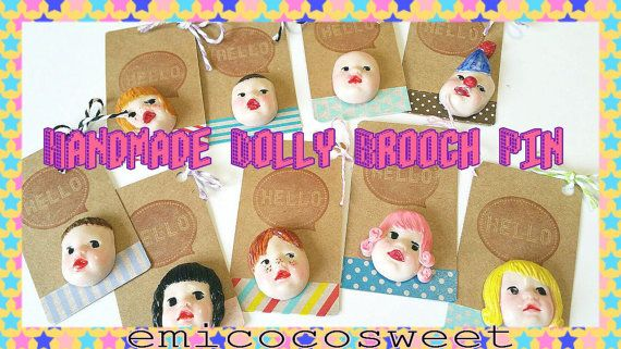 SALE OOAK Doll Brooch Kitsch Badge PinDolly by emicocosweet