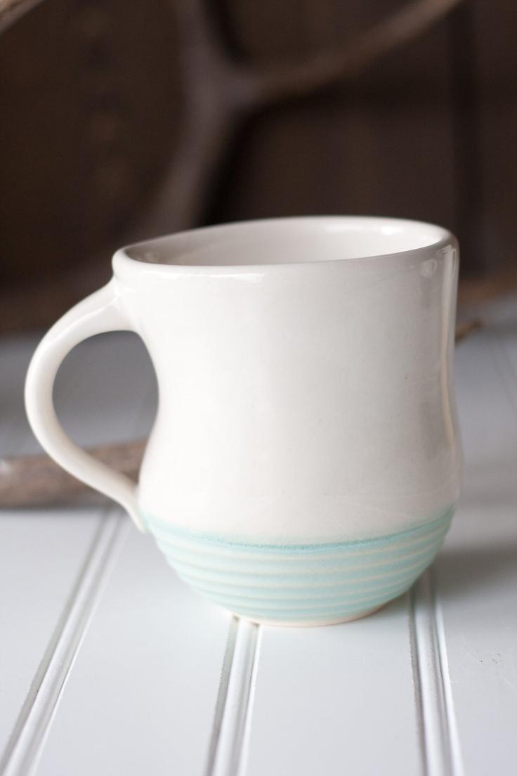 Pottery Coffee Mug White And Seafoam Green Simple
