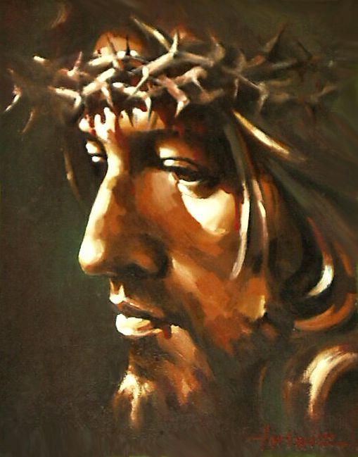 Misterios dolorosos.  3. La corona de espinas. «Los soldados del procurador llevaron a Jesús al pretorio y reunieron en torno a El a toda la cohorte. Le desnudaron, le pusieron una túnica roja y trenzaron una corona de espinas, se la pusieron en la cabeza, y en su mano derecha una caña; se arrodillaban ante El y se burlaban diciendo: Salve, Rey de los judíos».
