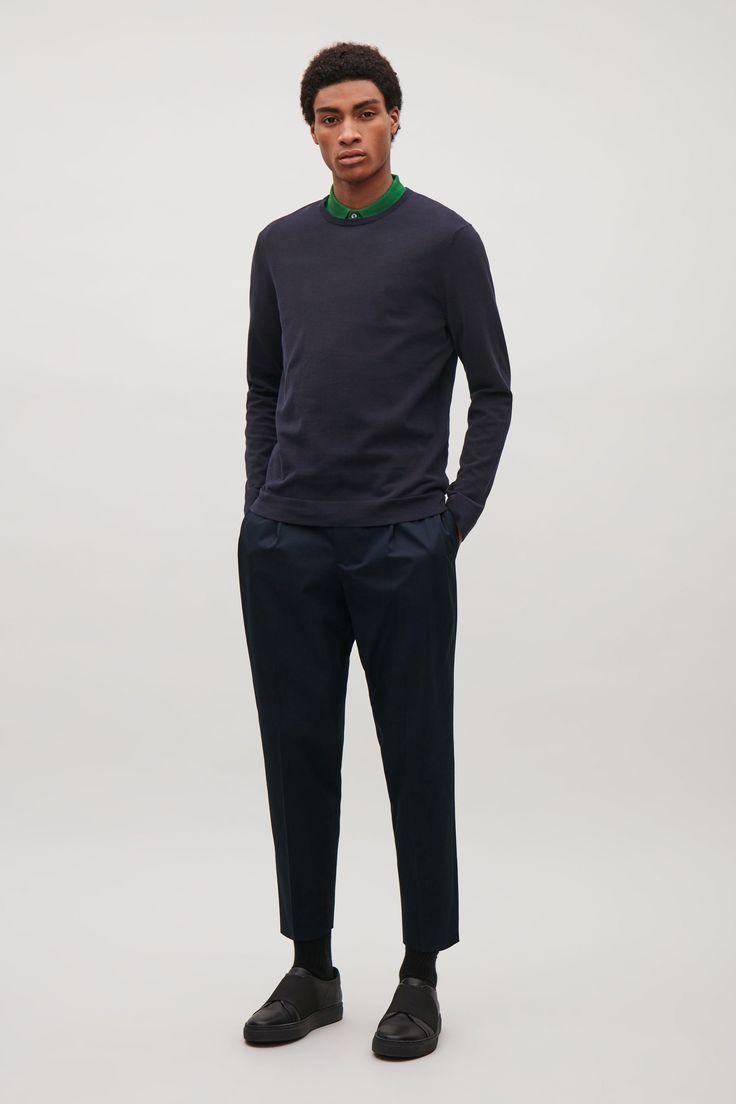 COS image 1 of Lightweight cotton jumper in Indigo