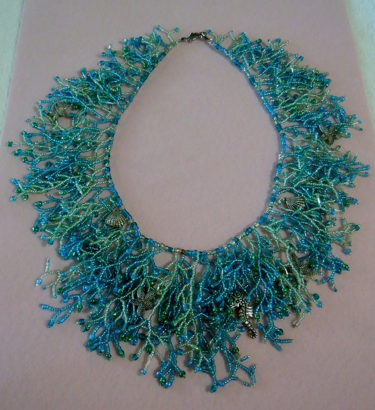 Seed Bead Fringe Sea Treasures Necklace Coraling. $85.00, via Etsy.