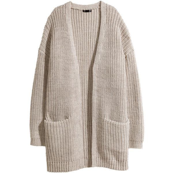 H&M Rib-knit cardigan ($19) ❤ liked on Polyvore featuring tops, cardigans, outerwear, jackets, sweaters, light beige, brown cardigan, beige cardigan, h&m and ribbed knit top