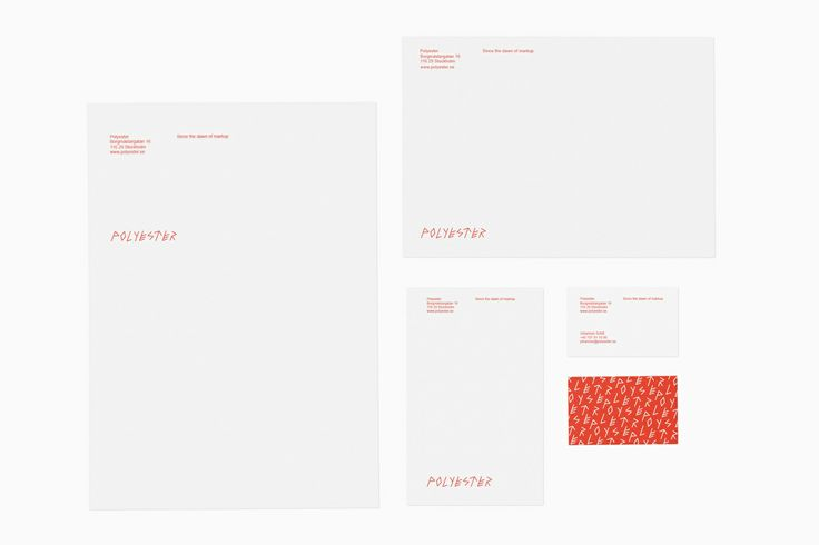 New brand identity and stationery designed by Bedow for front end development business Polyester.