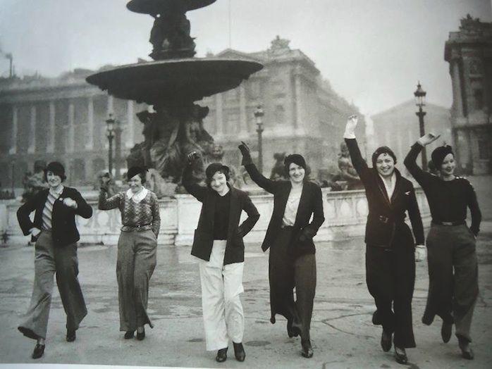 Parisian gals in pants, 1933, Place de Concorde, Paris. Unknown