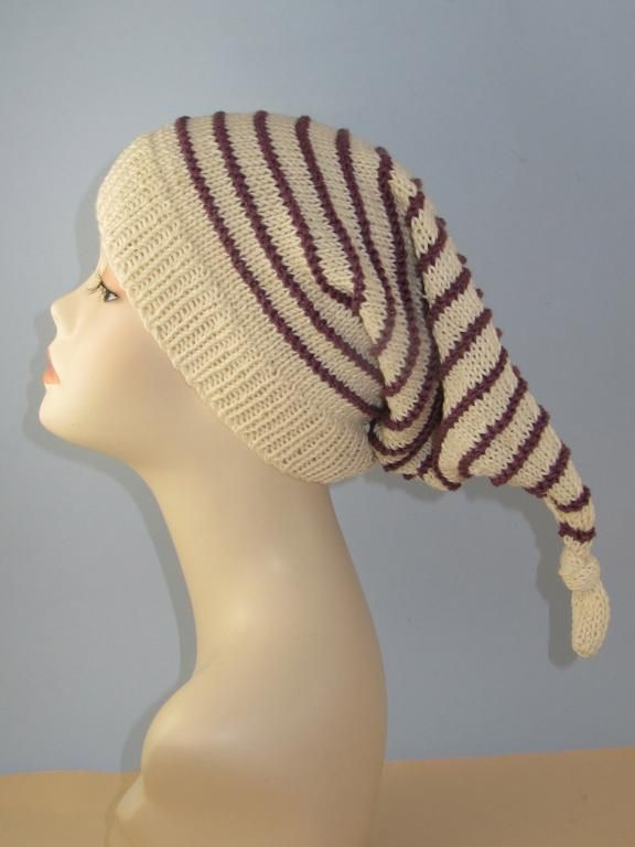 Stripe Topknot Pixie Hat