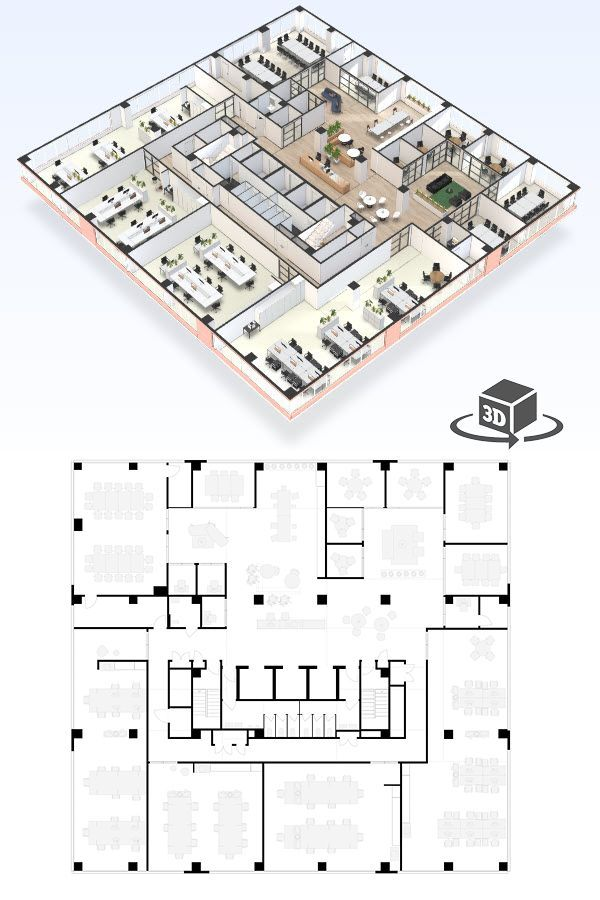 Large Office Floor Plan In Interactive 3d Get Your Own 3d Model Today At Http Planto3d Com Office Floor Plan Floor Plans Office Building Plans