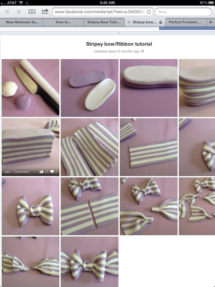 Striped Fondant Bow Tutorial | Cakes and cupcakes | Pinterest | Fondant, Cake and Cake decorating