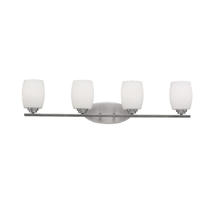 Contemporary 4 light Bath fixture in Brushed Nickel
