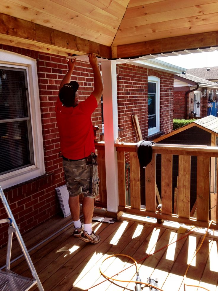 Mike installing aluminum soffit and facia 28 Aug