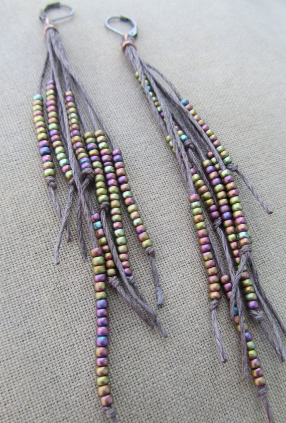 iridescent glass beads in rainbow hues ~high quality brown hemp ~accents of copper wire ~approx. 4-1/2 inches long from bottom of ear wire~ other lengths also available