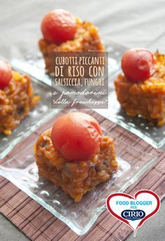 Cubotti piccanti di #riso con #salsiccia, #funghi e #pomodorini    #Cirio, gusta la nostra #ricetta. #rice #mushrooms #tomato #recipe