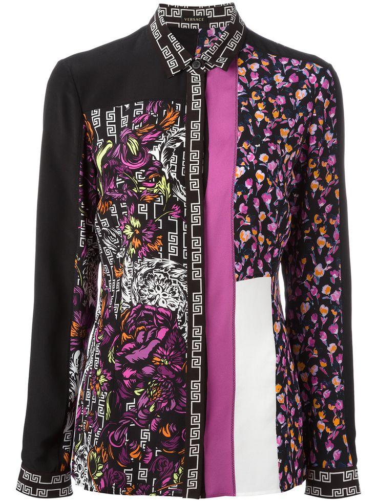 Versace Camisa de seda com padronagem