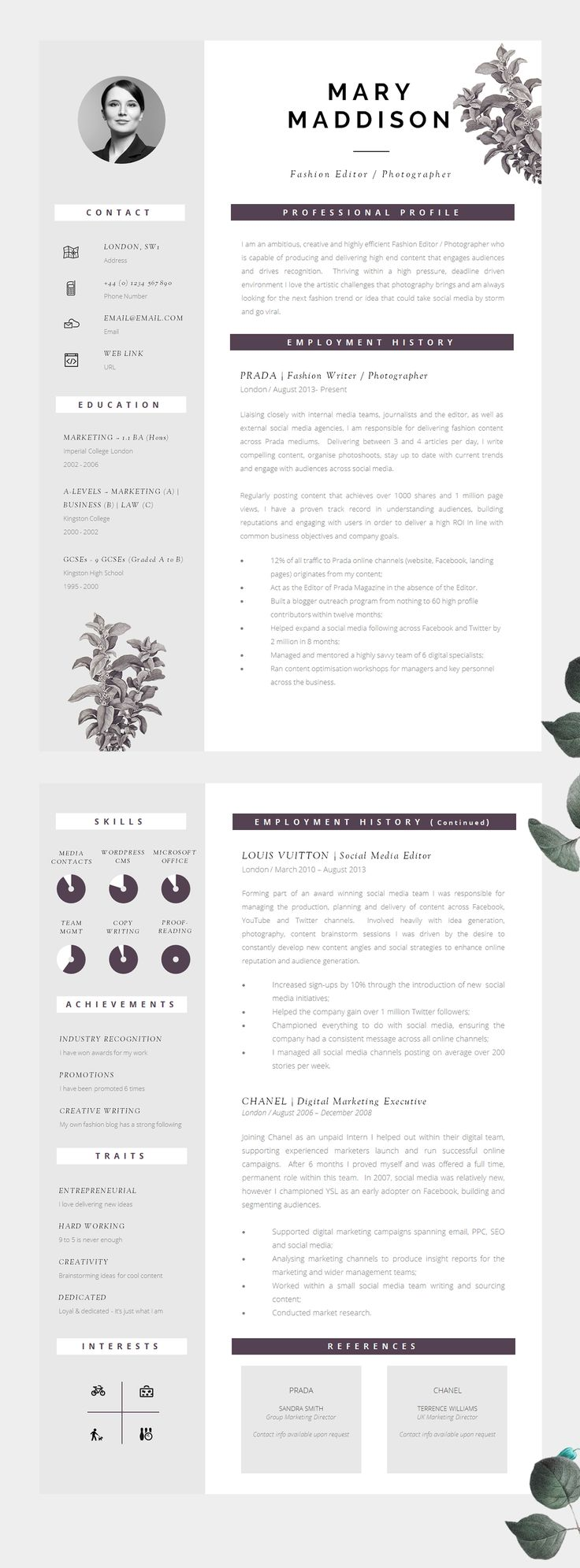 Well Designed CV, Modern Yet Professional   Information Is Clear To Read  And Well Structured  Professional Graphic Design Resume