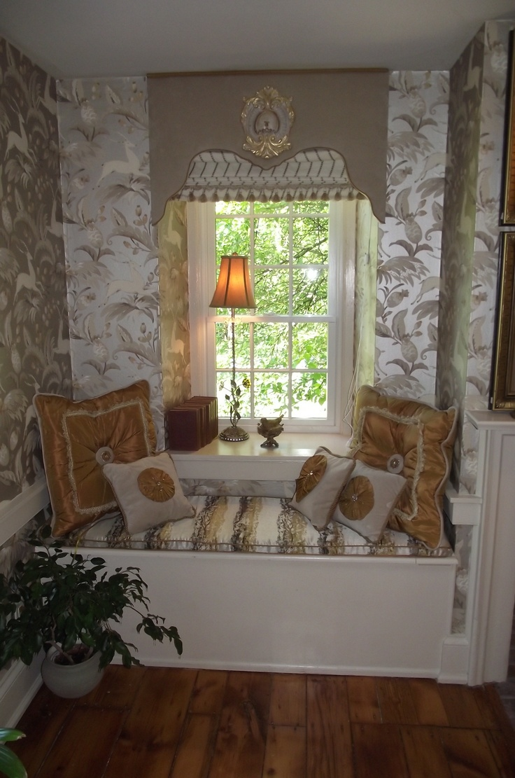 Upholstered Cornice with Roman Shade and Window