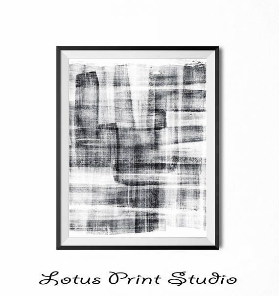 Black & White Abstract Art Watercolour Brush Strokes