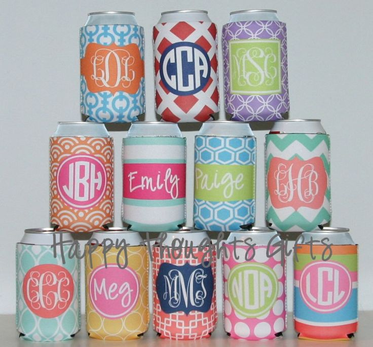 Can Holder - Monogrammed Huggie - Personalized Custom Can Holder - Can Hugger by happythoughtsgifts on Etsy https://www.etsy.com/listing/164509169/can-holder-monogrammed-huggie
