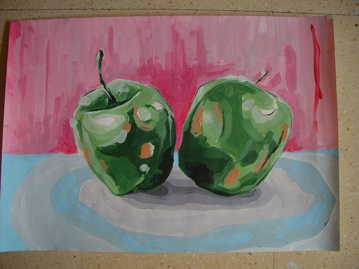 Bodegón acrílicos manzanas.