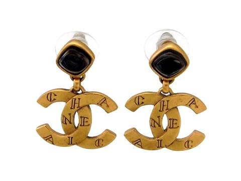 Vintage Chanel stud earrings CC logo dangle