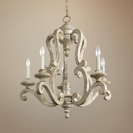 "Kichler Hayman 28"" Wide Antique White Chandelier"