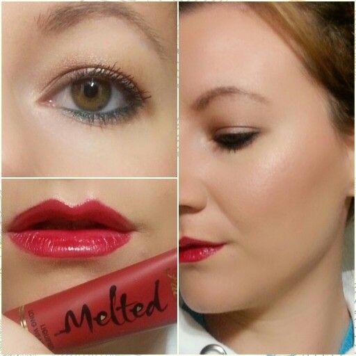 My velvety red lips #fotd #toofaced #melted #eyes #lips