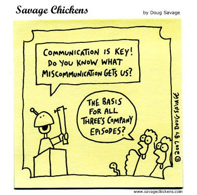 communication humor- reflecting on Three's Company!