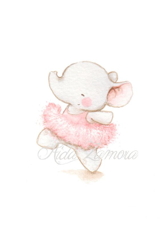 Nursery Art ELEPHANT BALLERINA Art Print pink por AidaZamora