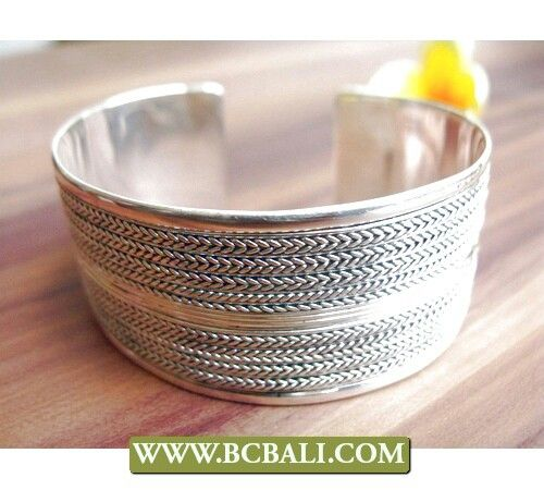 Solid silver carved cuff bracelet alpaka