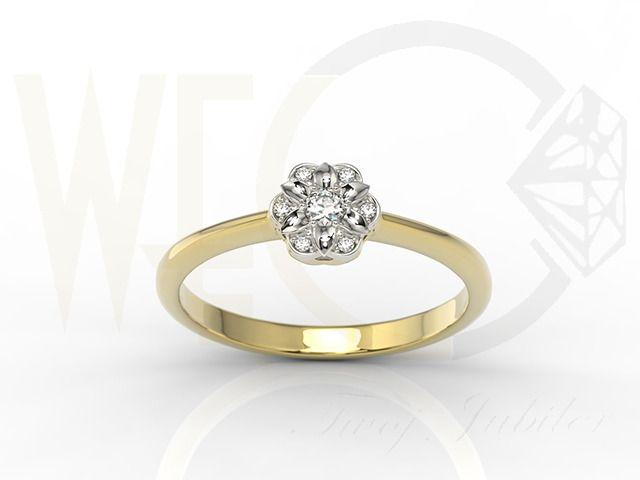 Piękny pierścionek z żółtego i białego złota z diamentami /Beaufiful engagement ring made from yellow and white gold with diamonds/ 1 555 PLN #beauty #ring #jewellery #diamonds