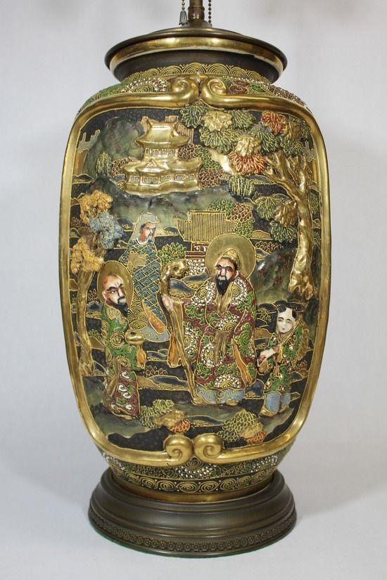 Large Antique Japanese Satsuma Pottery Vase Lamp Hand