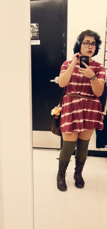 Fall Tshirt Dress Tall Socks Fox Purse Belt Plus Size Teen Outfit