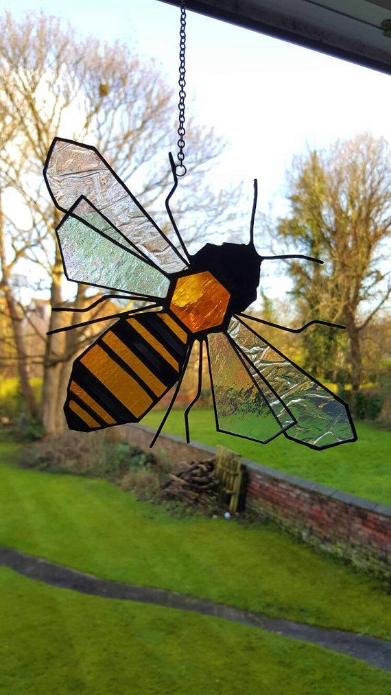Bee, Stained Glass, Suncatcher, Honey Bee, Beekeeper Gift, Manchester, Garden lover, Stripes, Honeycomb, Decoration, Nature Lover, Folk