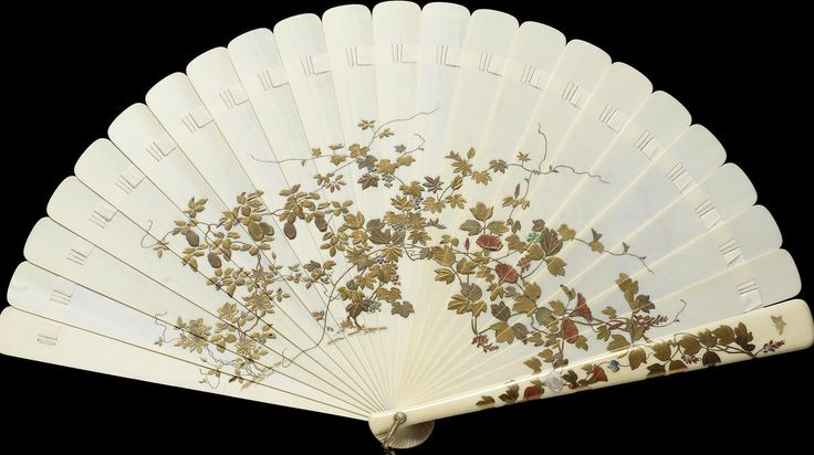 A large gold lacquer inlaid ivory-mounted brisé fan Meiji Period via